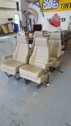 Airplane vinyl seats after colour change