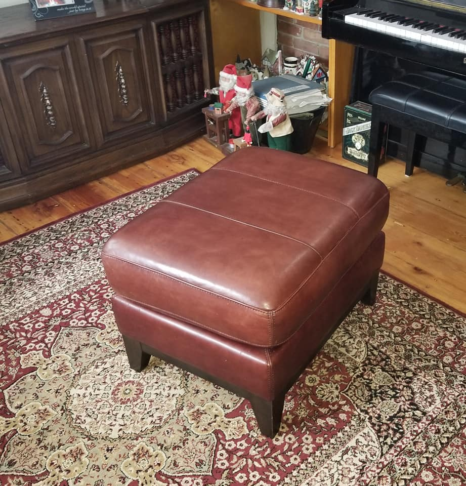 Leather ottoman re-dyed halifax